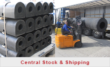 Central stock and shipping rubber fenders