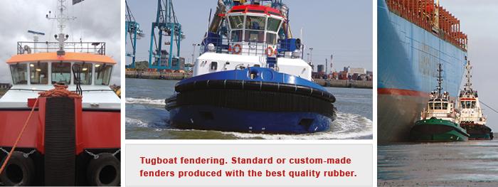 Tug boat rubber fenders