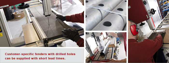 Drilling & cutting rubber fenders